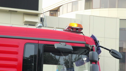 Emergency orange lights on top of truck car, road service