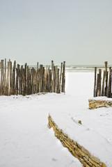 Snowing on beach