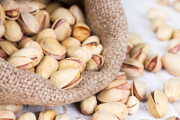 Pistachio nuts in a bag