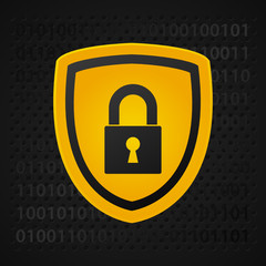 yellow binary shield, data protection