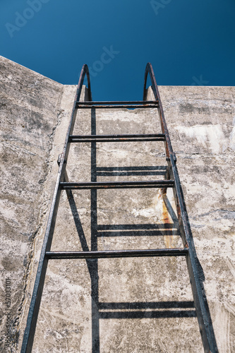 Concrete wall and ladder