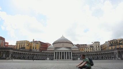 Architecture of Plebiscito Square in Naples, Italy