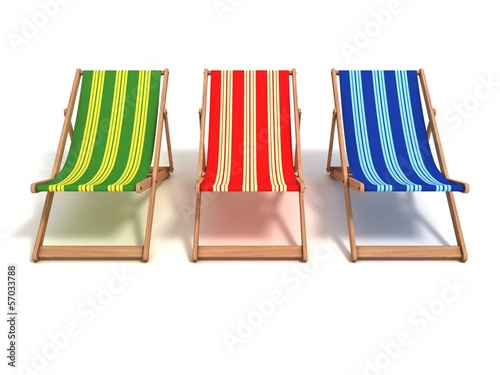 colorful beach chairs 3d illustration