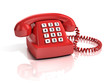 red retro telephone isolated over white background