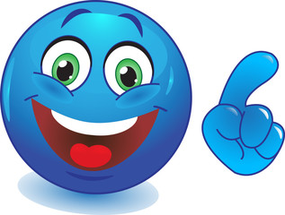 Синий смайл с рукой указывает пальцем