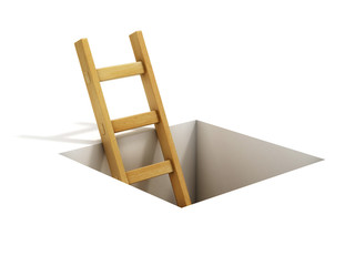 ladder inside rectangular hole
