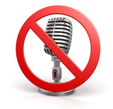 Microphone and prohibition sign (clipping path included)