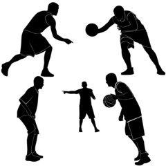 Athletes men are playing basketball