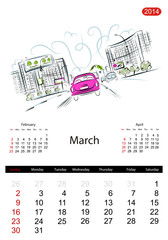 Calendar 2014, march. Streets of the city, sketch for your