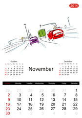 Calendar 2014, november. Streets of the city, sketch for your