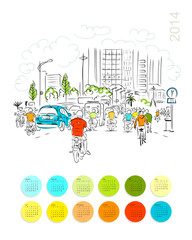 Calendar 2014. Sketch of traffic road in asian city with
