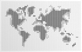 World map, black dots atlas composition EPS10 vector file.