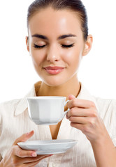 Young happy woman with cup of coffee, isolated
