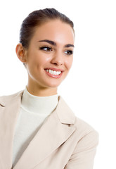 Portrait of smiling business woman, isolated