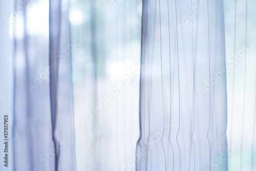 Transparent curtain on window
