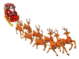Santa Claus rides reindeer sleigh on Christmas