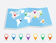World map with geo position pins EPS10 vector file.
