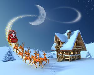 Christmas night scene - Santa Claus rides reindeer sleigh