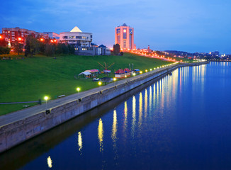 Evening city Cheboksary, Chuvashia, Russian Federation.