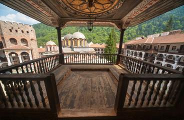 Prayer balcony in the Rila Monastery in Bulgaria