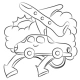 Air and Car Travel Line Art