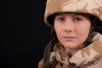 Portrait Of Female British Soldier