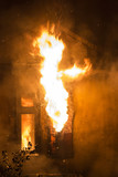 residential home on fire, fully involved, poster