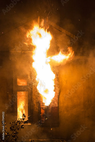 residential home on fire, fully involved,