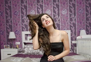 Bedroom hairstyle. Wide angle portrait.