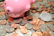 Coins Spilled Out of a Pink Piggy Bank