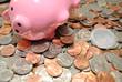 Coins Spilled Out of a Pink Piggy Bank