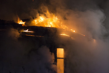residential home on fire, fully involved