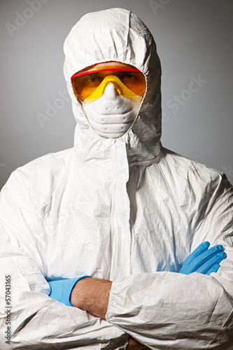 Scientist in protective wear