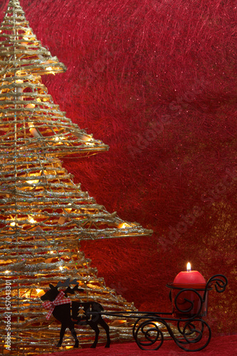 Golden Christmas tree with red  background