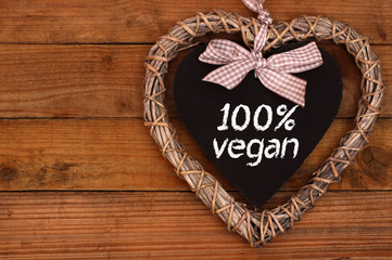 100% vegan Herzschild