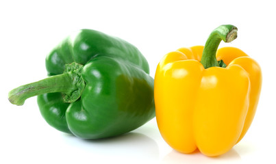 yellow green pepper onwhite background