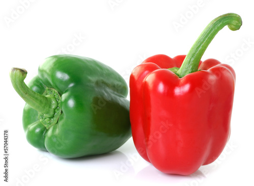 red green pepper on white background