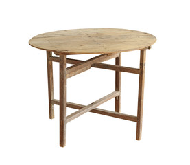 Vintage folding table (with clipping path) isolated on white bac