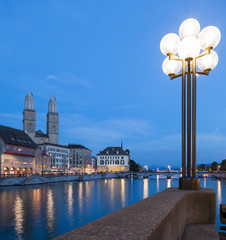 Zurich, evening, Limmat River and Great Minster