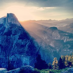 sunrise over half dome in yosemite national park