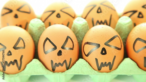 Scary vampire crazy eggs for halloween on white background