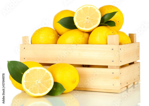 Ripe lemons isolated on white