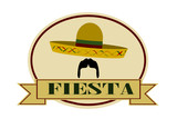 fiesta banner template with man wearing sombrero