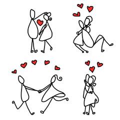 set of hand drawing cartoon character lovers wedding