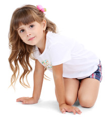 Little girl posing isolated on white
