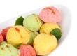 Delicious ice cream in bowl closeup