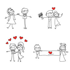 hand drawing cartoon character lovers wedding
