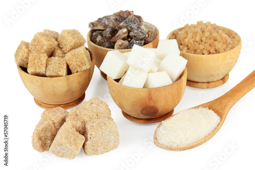 Different types of sugar isolated on white