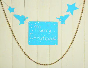 Signboard with words Merry Christmas