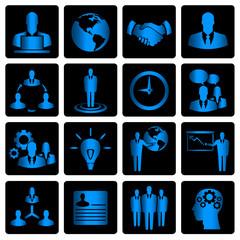 Blue business icon set on black background
